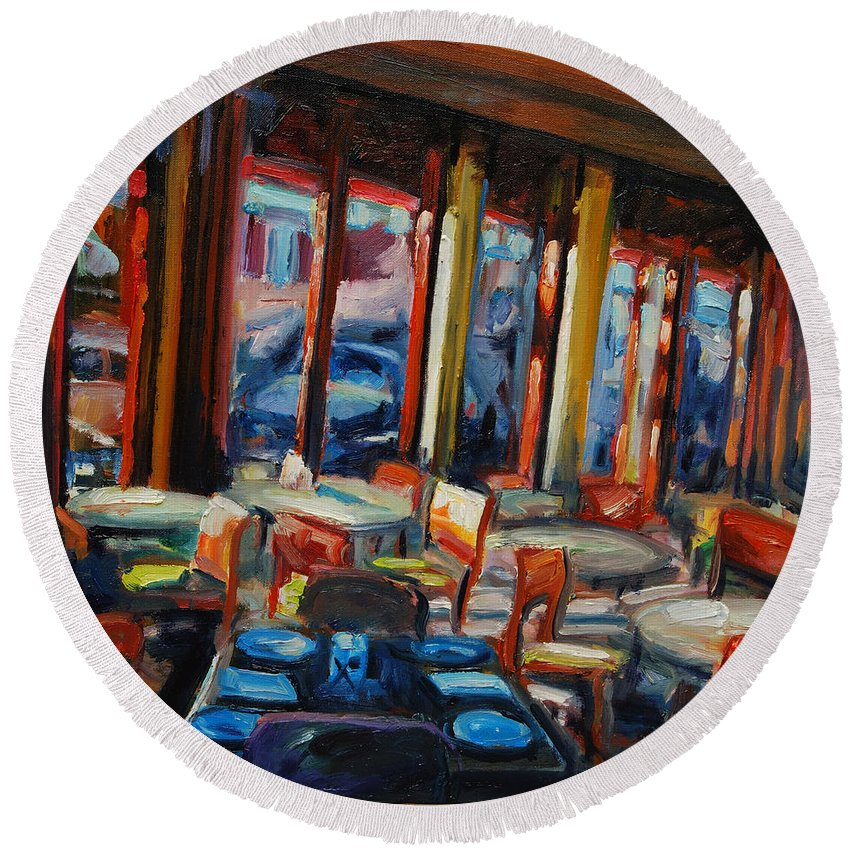 Cityscape Round Beach Towel featuring the painting Restaurant On Columbus by Rick Nederlof