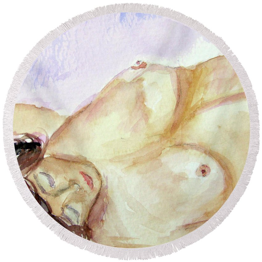 Woman Round Beach Towel featuring the painting Resting by Donna Blackhall