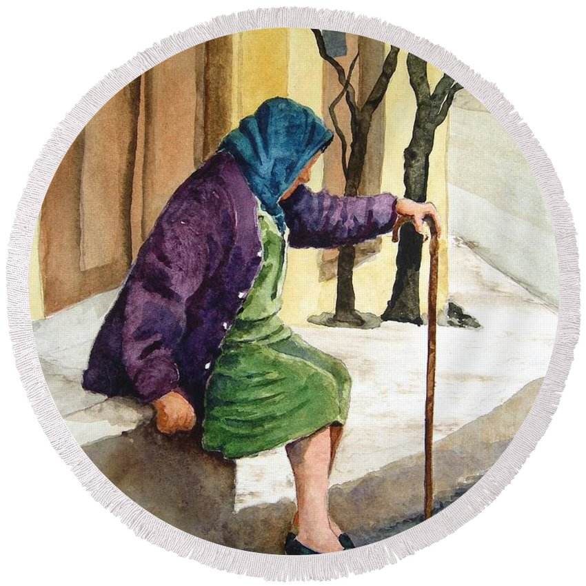 Old Lady Round Beach Towel featuring the painting Resting by Sam Sidders