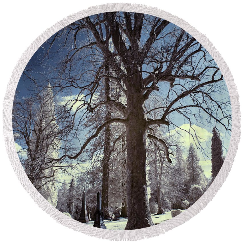 Infrared Photography Round Beach Towel featuring the photograph Resting Shadows by Cathy Franklin