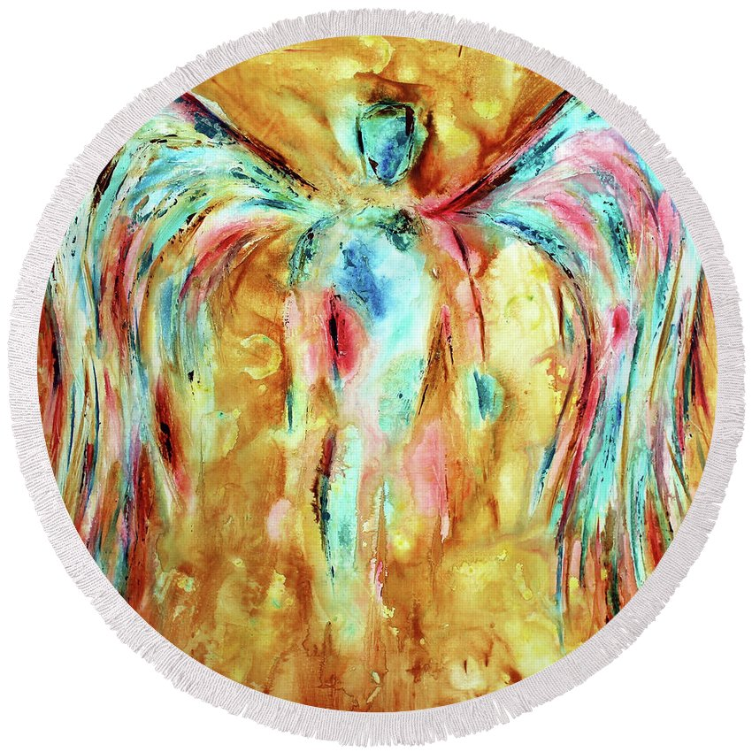 Angel Round Beach Towel featuring the painting Restitution by Ivan Guaderrama