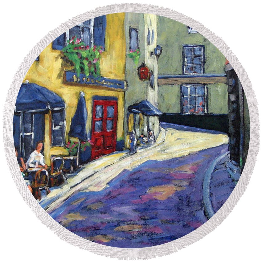 Restaurant Round Beach Towel featuring the painting Resto Le Cochon Dingue In Old Quebec by Richard T Pranke