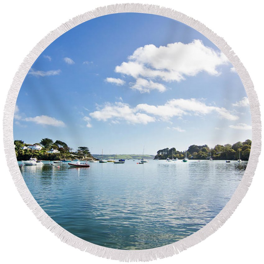 Restronguet Round Beach Towel featuring the photograph Restronguet Creek In Autumn by Terri Waters
