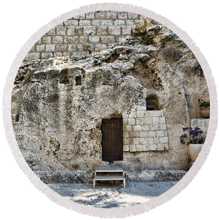Ancient Round Beach Towel featuring the photograph Resurrection - Garden Tomb by Stephen Stookey