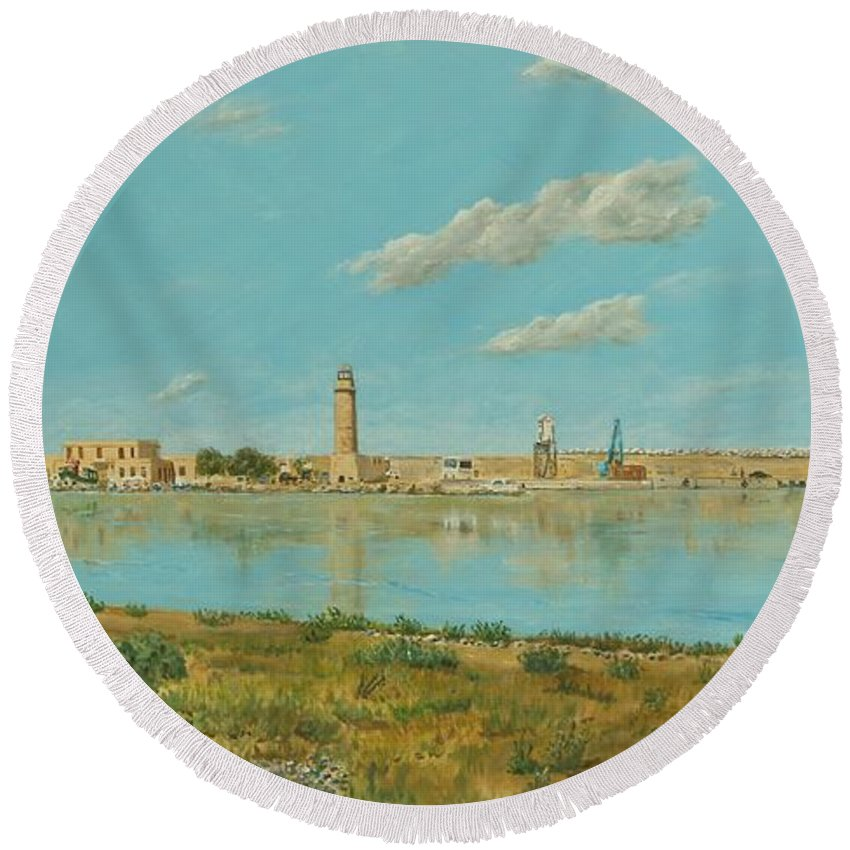 Crete Round Beach Towel featuring the painting Rethymno Harbour - Crete by David Capon