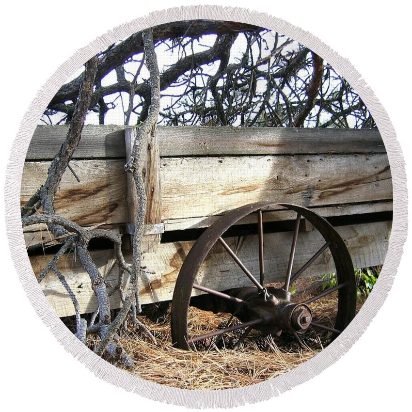 #retiredfarmwagon Round Beach Towel featuring the photograph Retired Farm Wagon by Will Borden