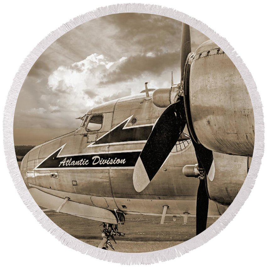 Aviation Round Beach Towel featuring the photograph Retired - Sepia by Gill Billington