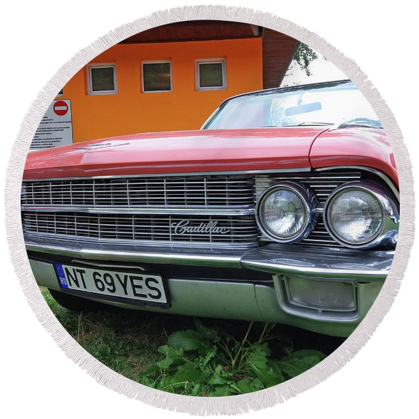 Car Round Beach Towel featuring the photograph Retro Cadillac by Cosmin-Constantin Sava