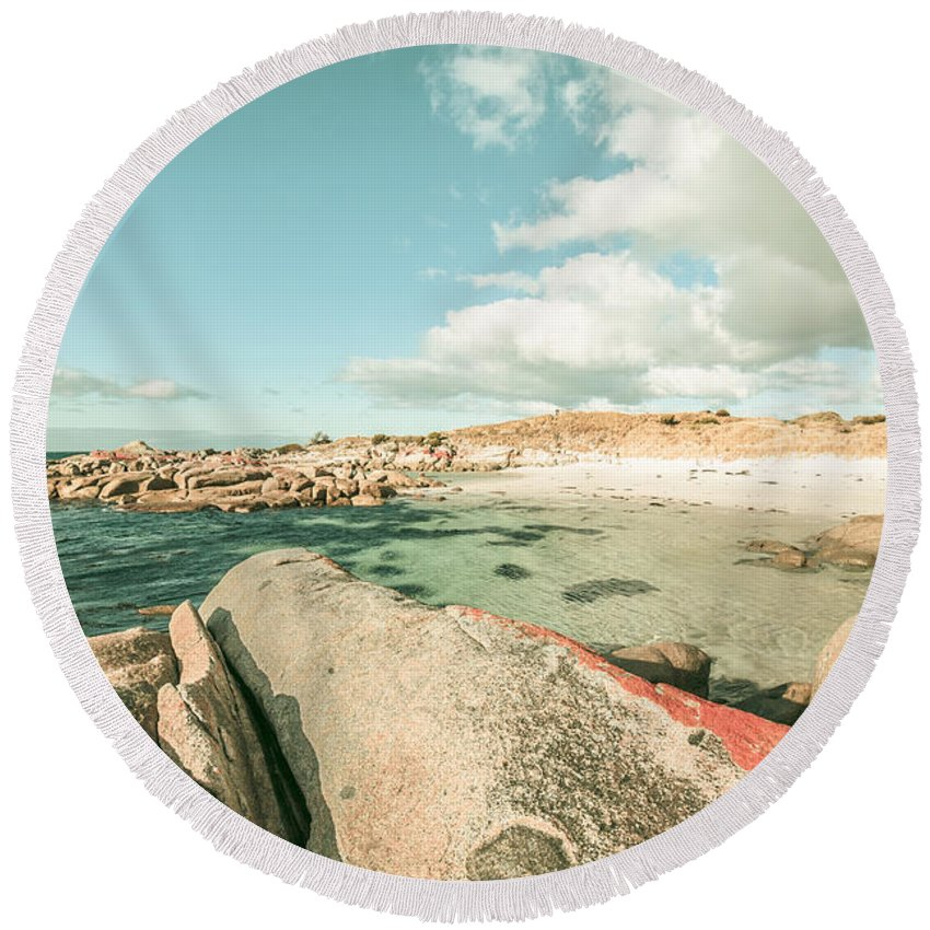 Sea Round Beach Towel featuring the photograph Retro Filtered Beach Background by Jorgo Photography - Wall Art Gallery