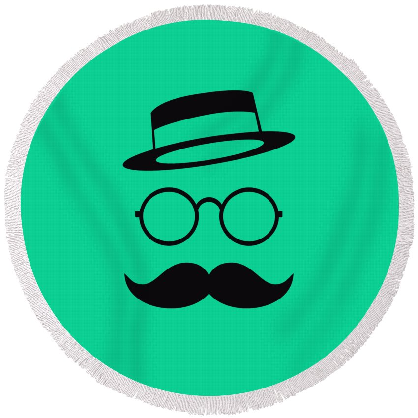 Les Claypool Round Beach Towel featuring the digital art Retro Minimal Vintage Face With Moustache And Glasses by Philipp Rietz