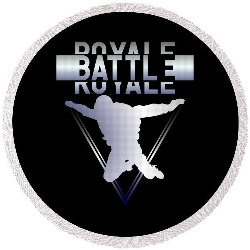 Battle-royale Round Beach Towel featuring the digital art Retro Vintage 90s Chrome Skydiver Battle Royale Gamer T Shirt by Olivier Manjarrez