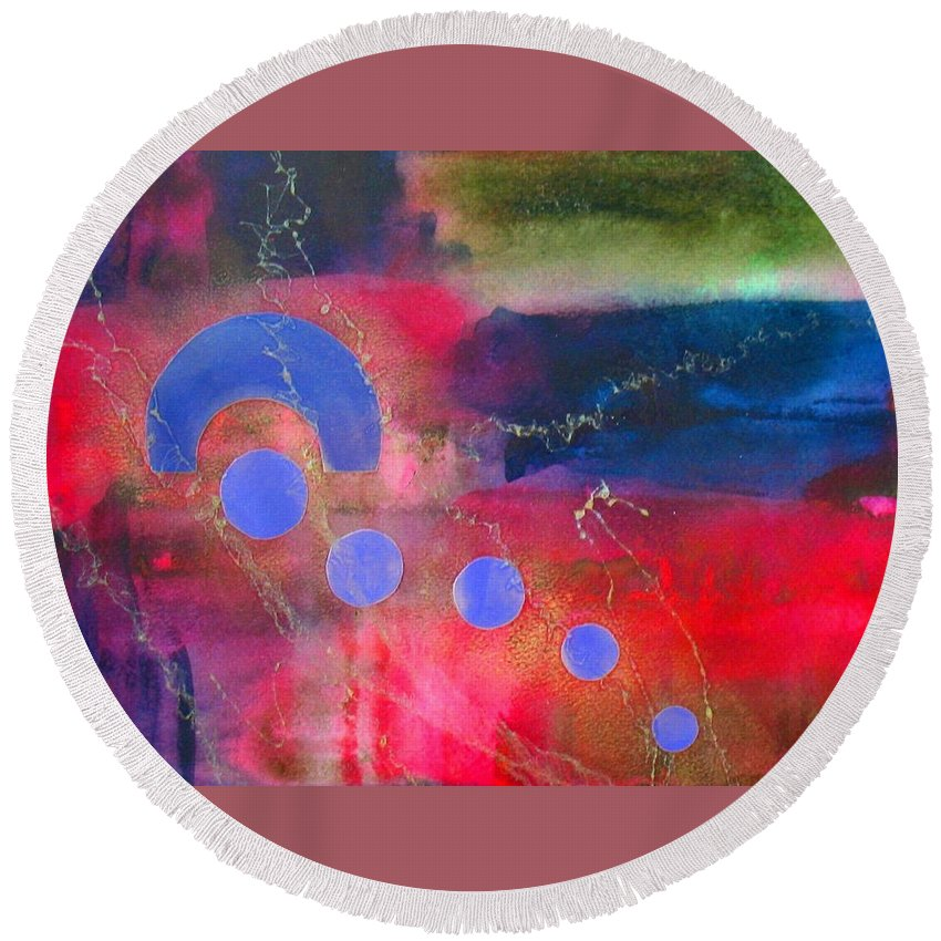 Abstract Round Beach Towel featuring the painting Returning Home by Louise Adams