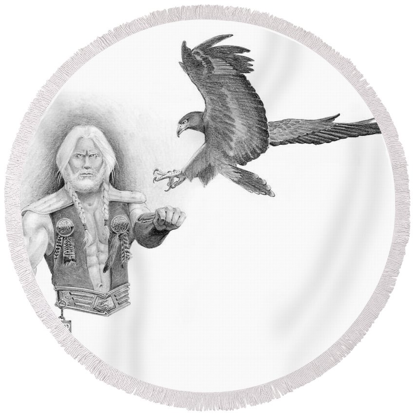Barbarian Round Beach Towel featuring the painting Revan Ramstedder by Melissa A Benson