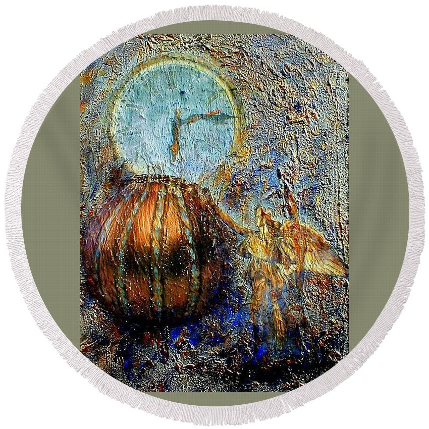 Christian Round Beach Towel featuring the mixed media Revelation by Gail Kirtz