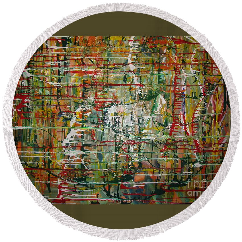 Freedom Round Beach Towel featuring the painting Revelation by Jacqueline Athmann
