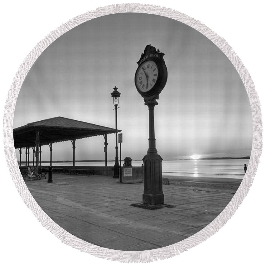 Revere Round Beach Towel featuring the photograph Revere Beach Clock At Sunrise Revere Ma Black And White by Toby McGuire