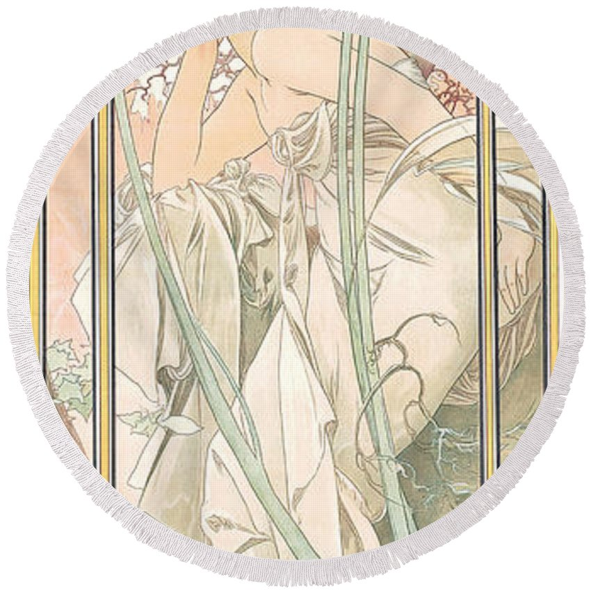 Alphonse Marie Mucha Round Beach Towel featuring the painting Reverie Du Soir by Alphonse Marie Mucha
