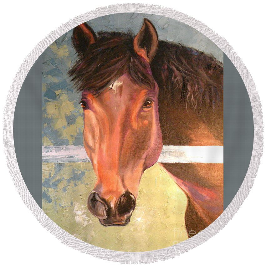 Horse Round Beach Towel featuring the painting Reverie - Quarter Horse by Susan A Becker