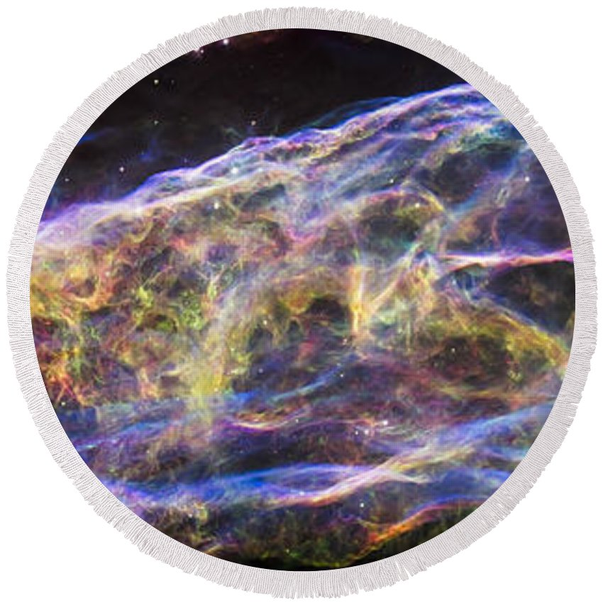 3scape Round Beach Towel featuring the photograph Revisiting The Veil Nebula by Adam Romanowicz