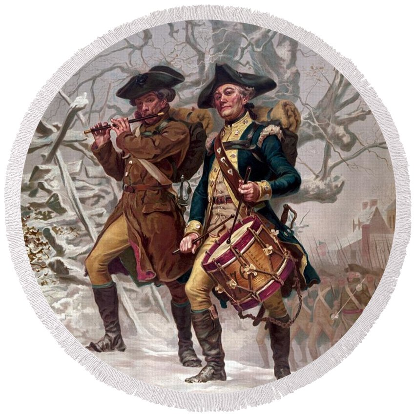 Minutemen Round Beach Towel featuring the painting Revolutionary War Soldiers Marching by War Is Hell Store