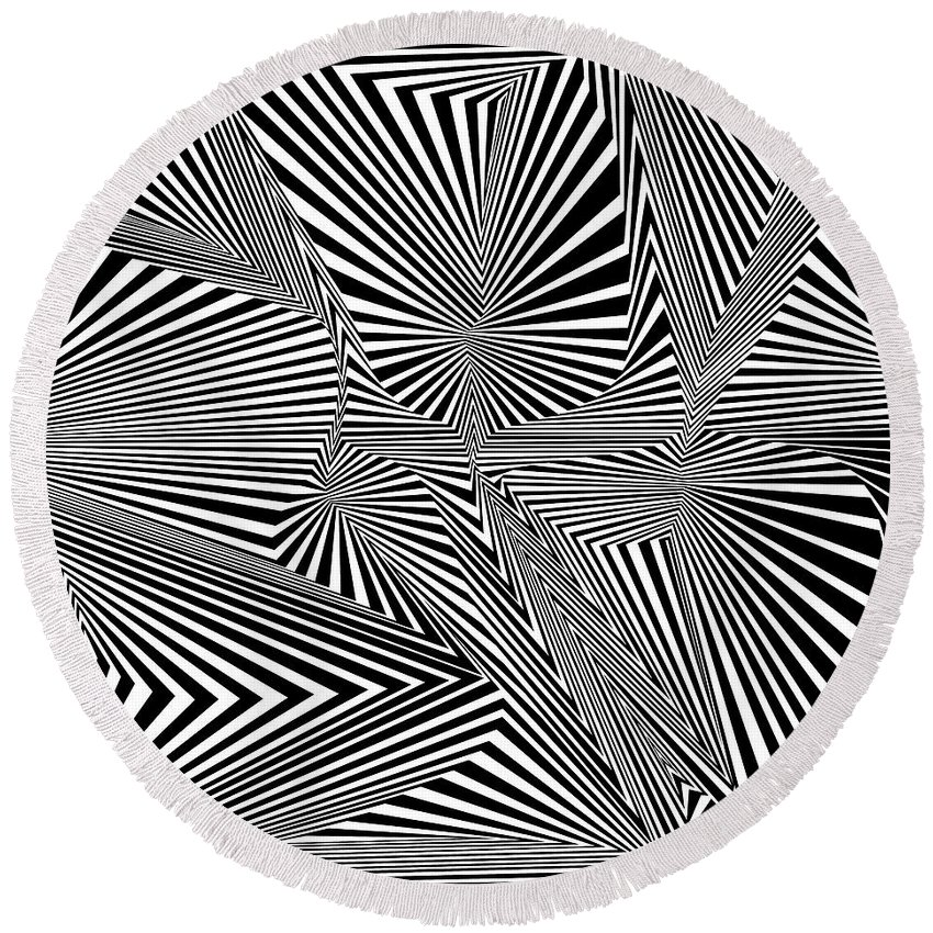 Dynamic Black And White Round Beach Towel featuring the digital art Rewolfdliw by Douglas Christian Larsen