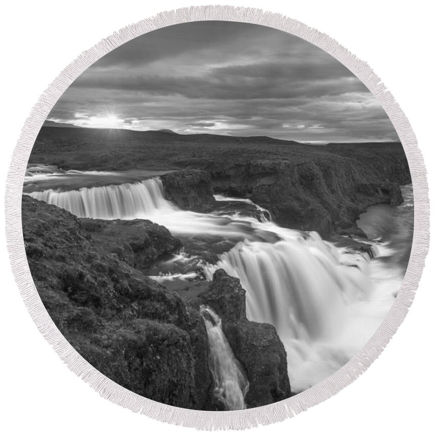 Water Round Beach Towel featuring the photograph Reykjafoss Waterfall Iceland 3996 by Bob Neiman