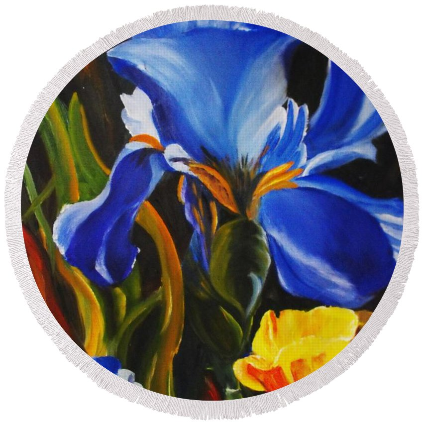 Iris Round Beach Towel featuring the painting Rhapsody In Blue by Valerie Curtiss