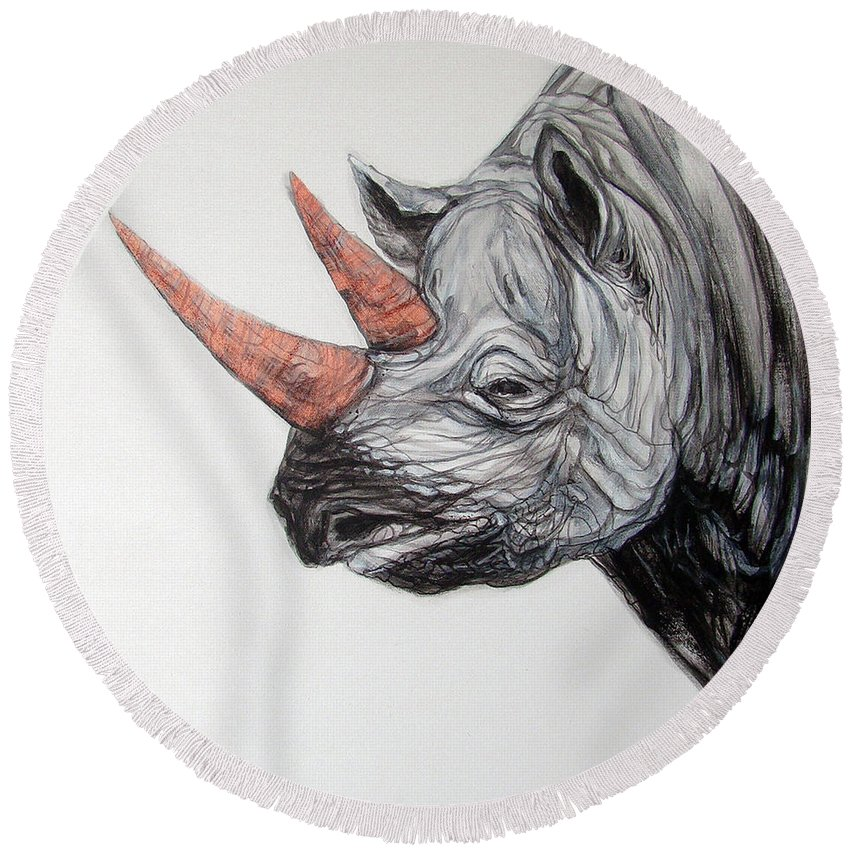 Original Art Painting & Creation Round Beach Towel featuring the painting Rhinoceros by Jack No War