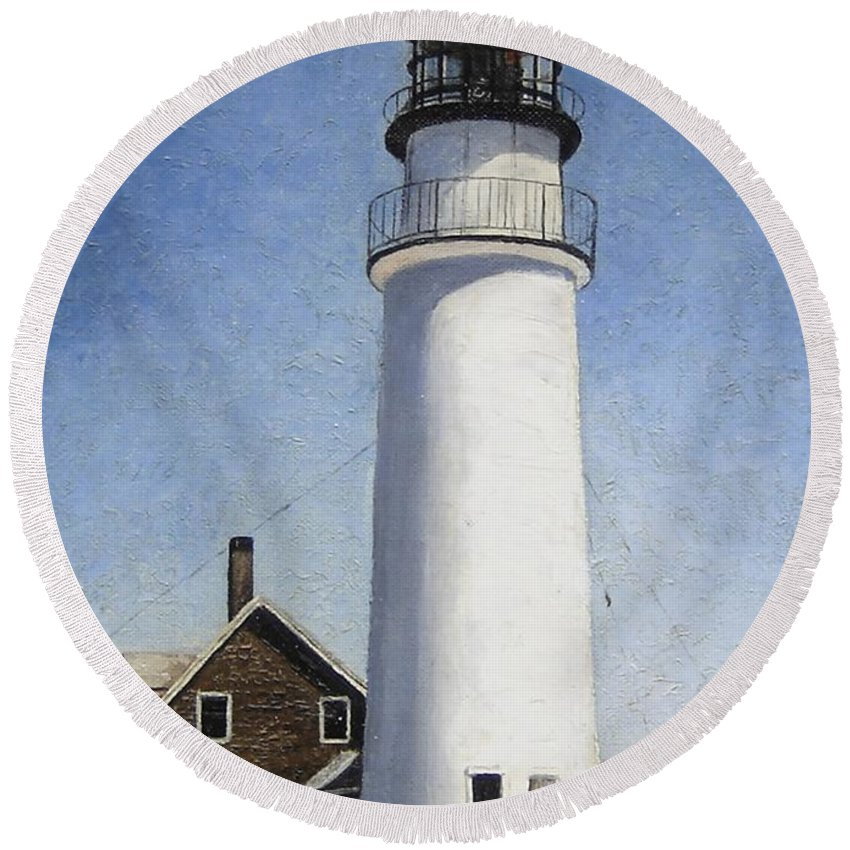Lighthouse Round Beach Towel featuring the painting Cape Cod Light by Mary Rogers