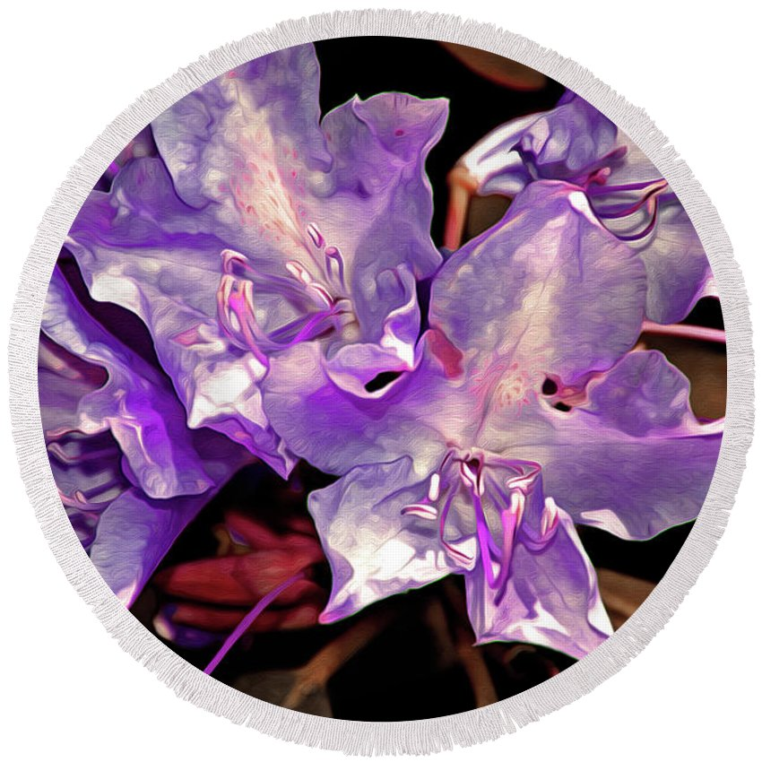 Flowing Round Beach Towel featuring the digital art Rhododendron Glory 8 by Lynda Lehmann