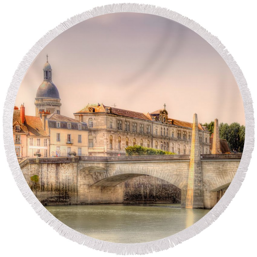 Rhone River Round Beach Towel featuring the photograph Bridge Over The Rhone River, France by Kay Brewer