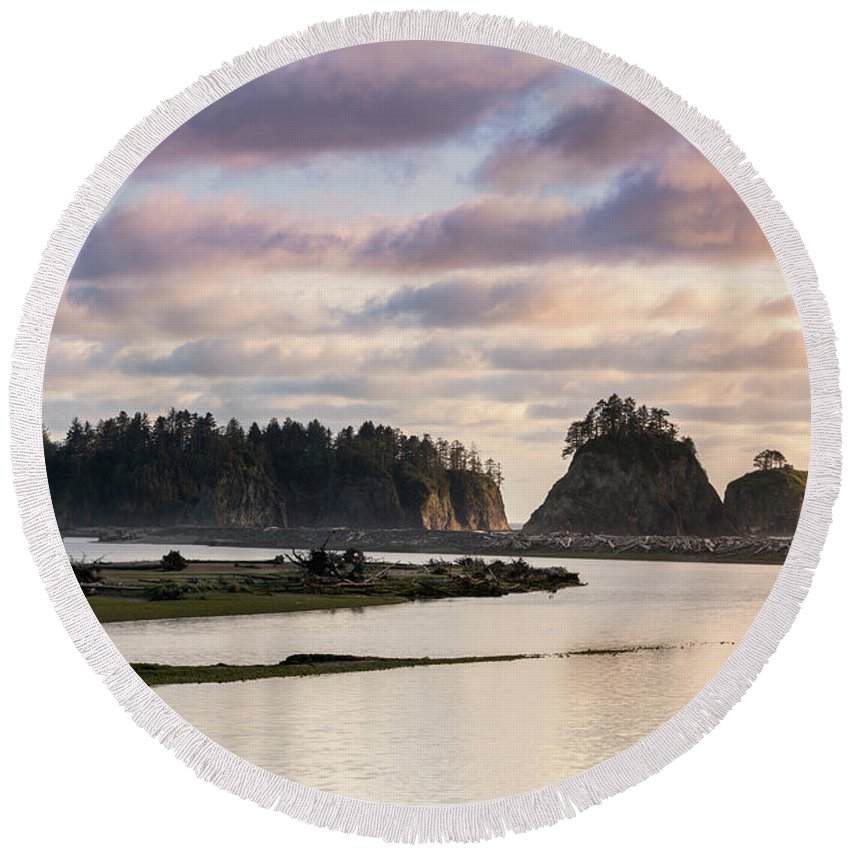 Olympic National Park Round Beach Towel featuring the photograph Rialto Beach Sunset On The Pacific Coast In Washington by Brandon Alms