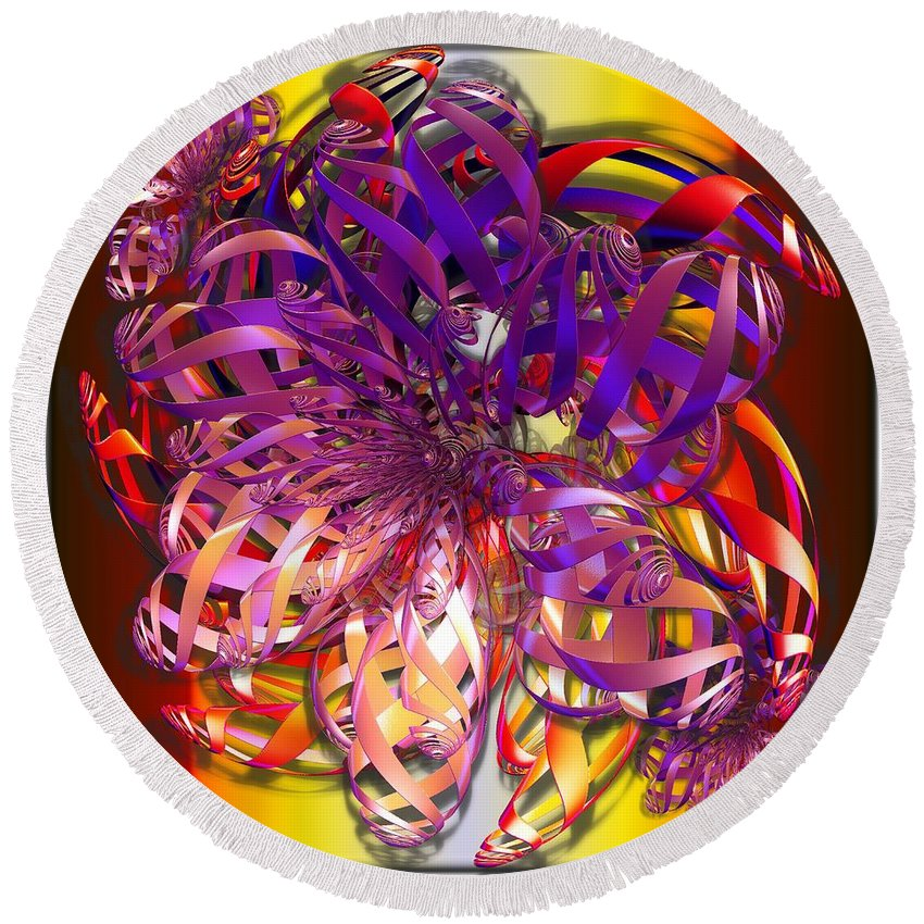 Abstract Round Beach Towel featuring the digital art Ribbons by Ron Bissett