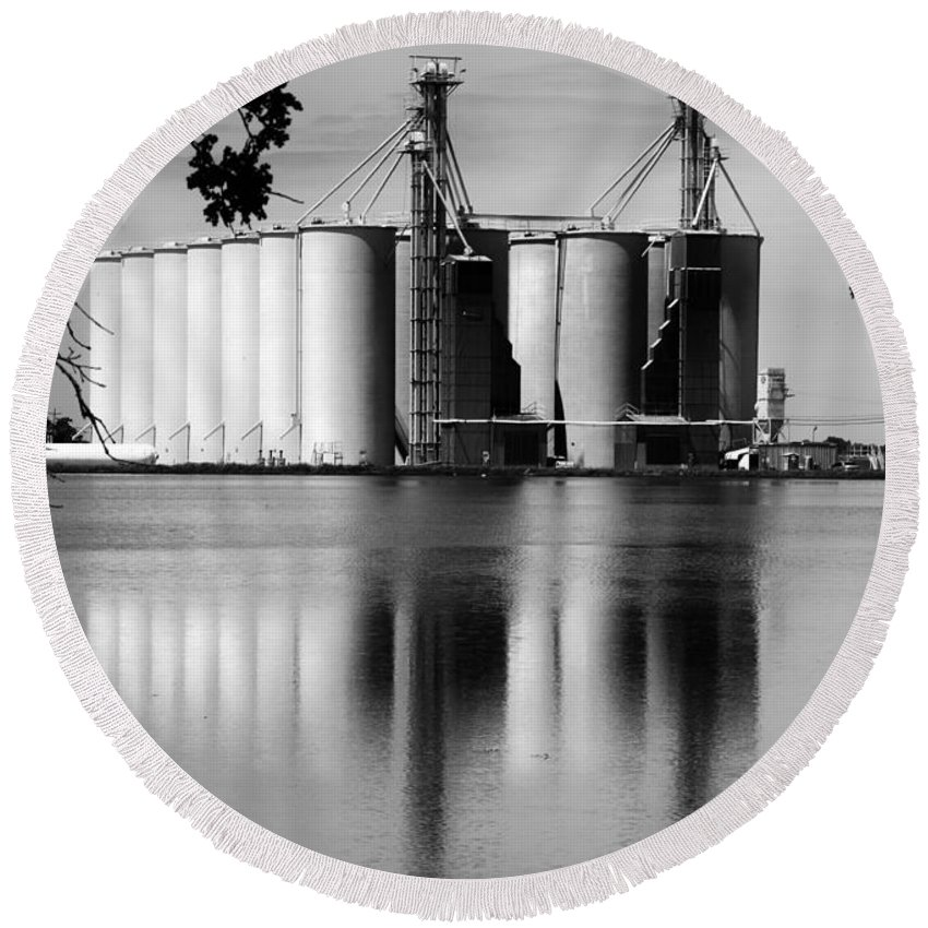 Agriculture Round Beach Towel featuring the photograph Rice Country by Barbara Matthews