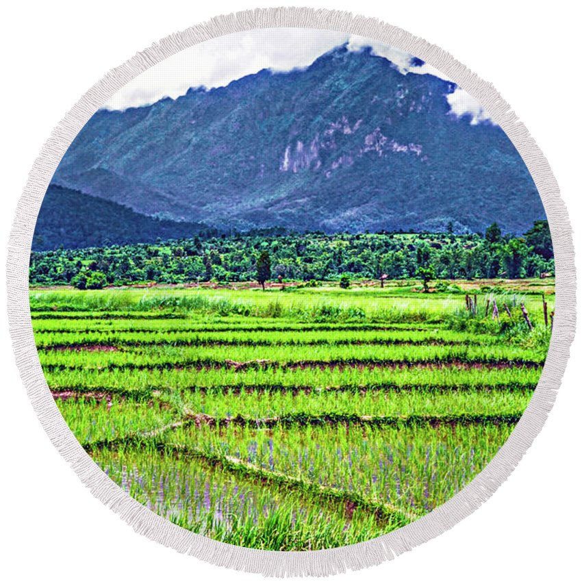 Rice Round Beach Towel featuring the photograph Rice Paddies And Mountains by Steve Harrington