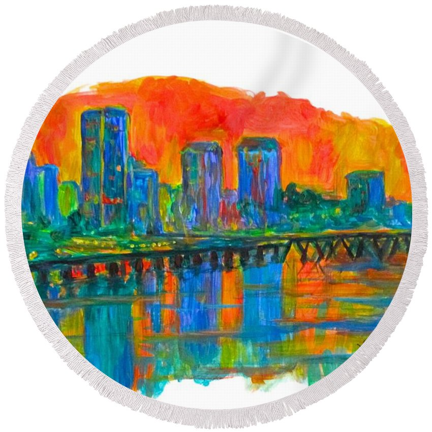 City Sunsets For Sale Round Beach Towel featuring the painting Richmond Gold by Kendall Kessler