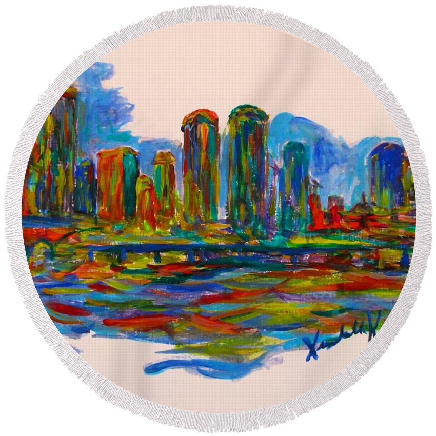 City Paintings For Sale Round Beach Towel featuring the painting Richmond Spin by Kendall Kessler