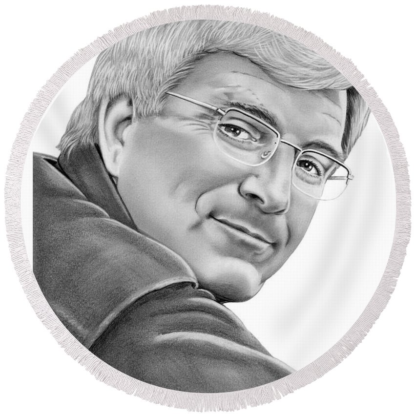 Pencil Round Beach Towel featuring the drawing Rick Steves by Murphy Elliott