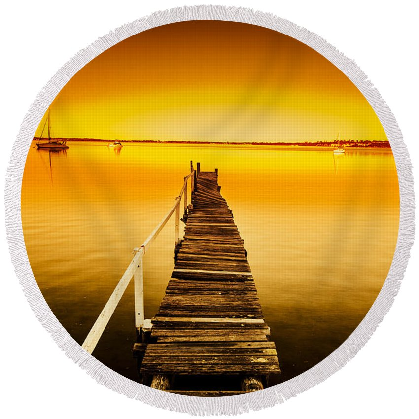Pier Round Beach Towel featuring the photograph Rickety Pier Sunset by Jorgo Photography - Wall Art Gallery