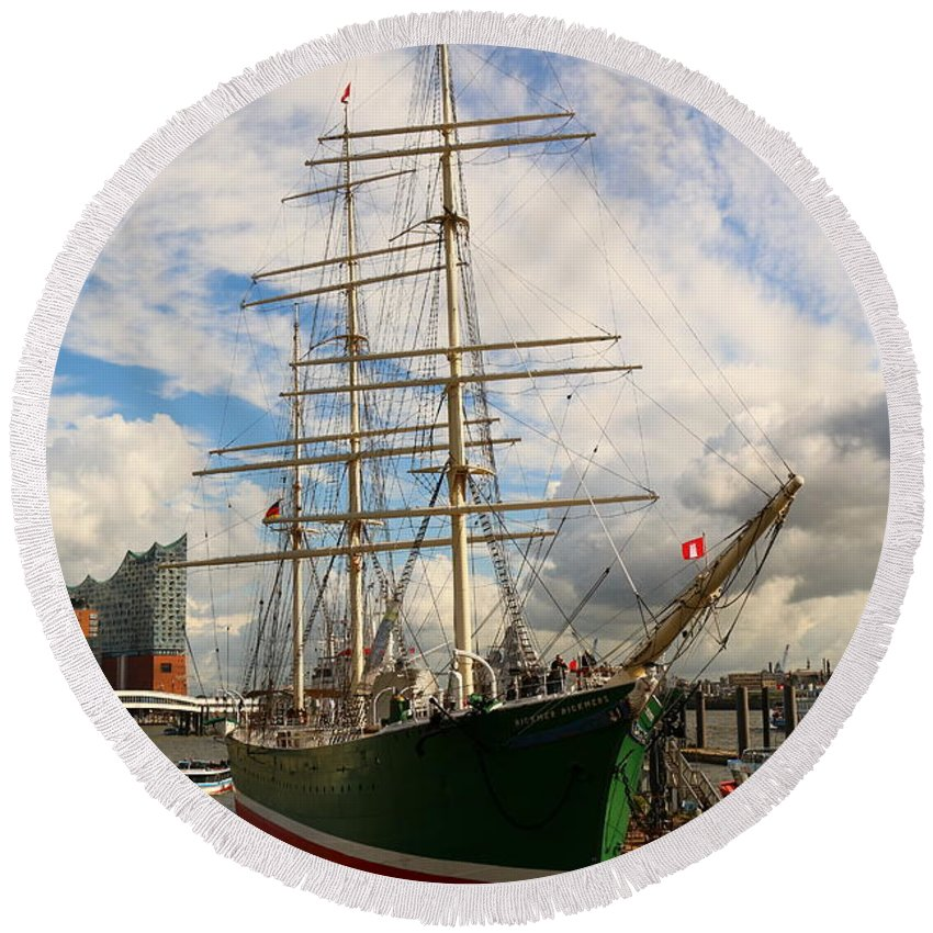 Attraction Round Beach Towel featuring the photograph Rickmer Rickmers A Three Masted Barque by Christiane Schulze Art And Photography