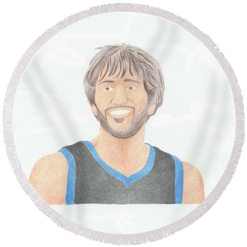 Basketball Round Beach Towel featuring the drawing Ricky Rubio by Toni Jaso