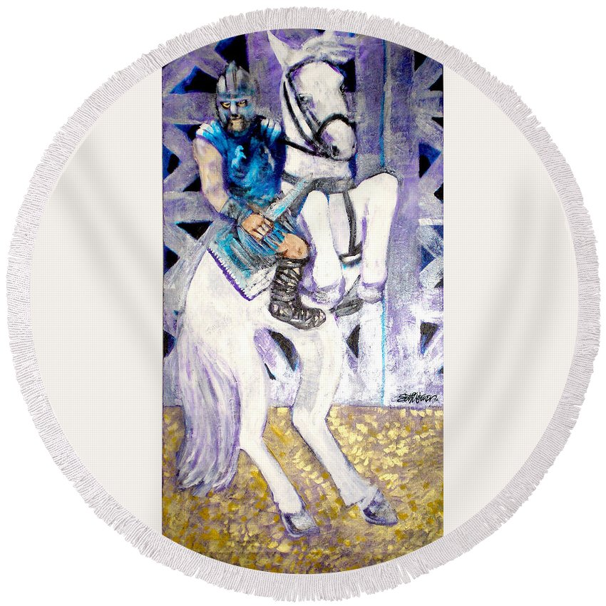 Horse Round Beach Towel featuring the painting Ride Of The Gladiator by Seth Weaver