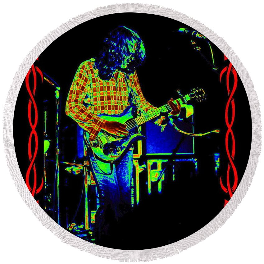 Rory Gallagher Round Beach Towel featuring the photograph Ride On Rory Ride On by Ben Upham