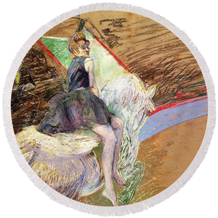 The Round Beach Towel featuring the pastel Rider On A White Horse by Henri de Toulouse Lautrec