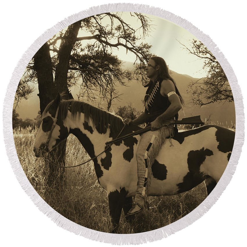 Rides His Horse Round Beach Towel featuring the photograph Rides His Horse 3 by Samantha Burrow