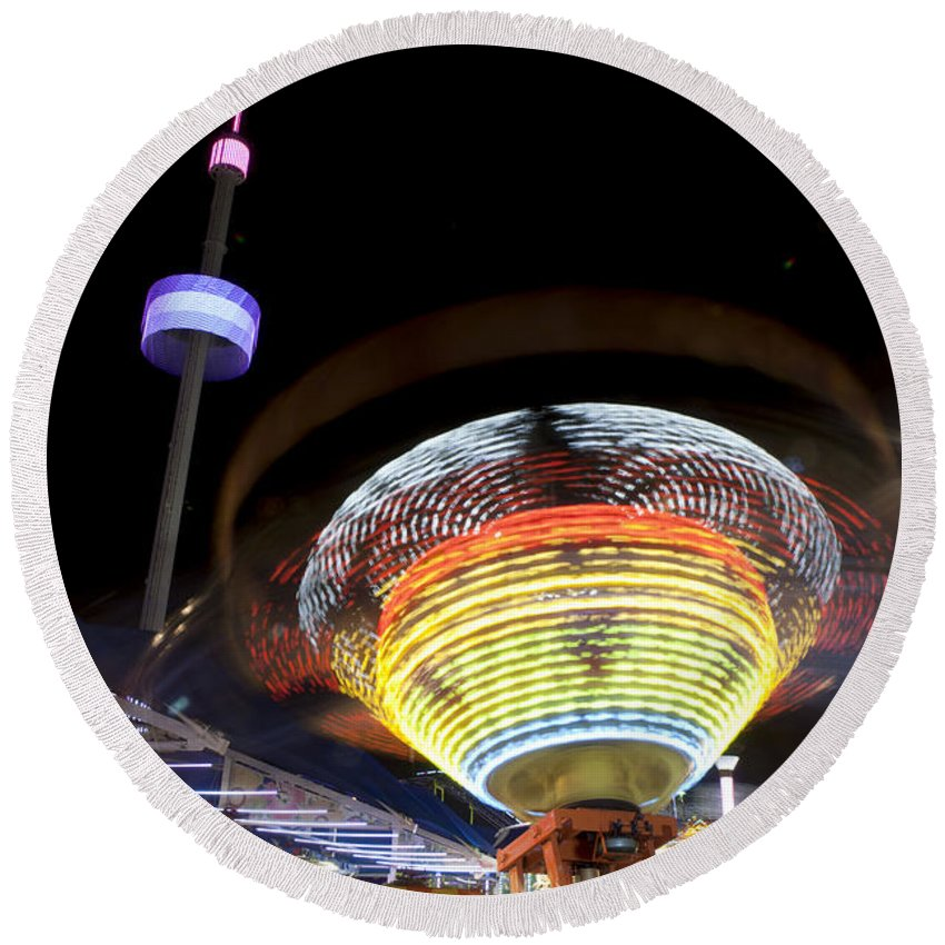Amusement Round Beach Towel featuring the photograph Rides In Motion Dallas Texas by Anthony Totah