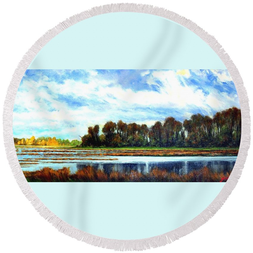 Landscapes Round Beach Towel featuring the painting Ridgefield Refuge Early Fall by Jim Gola