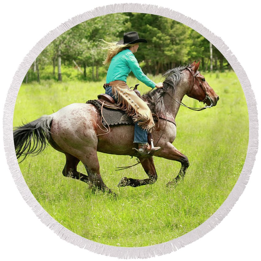 Cowboy Round Beach Towel featuring the photograph Riding Fast by Steve McKinzie