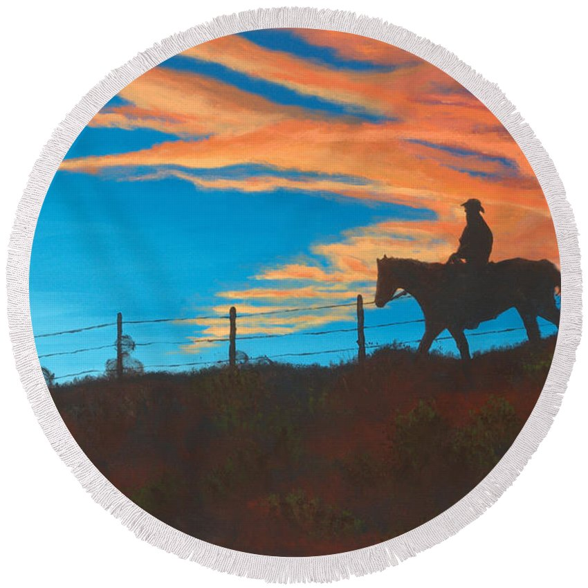 Cowboy Round Beach Towel featuring the painting Riding Fence by Jerry McElroy