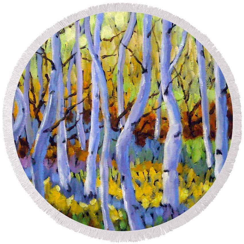 Art Round Beach Towel featuring the painting Rigaudon Of Aspens by Richard T Pranke